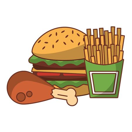 Fast food hamburger with chicken and french fries isolated vector illustration graphic design Иллюстрация