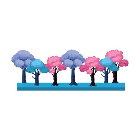 blue and pink trees icon over white background, vector illustration