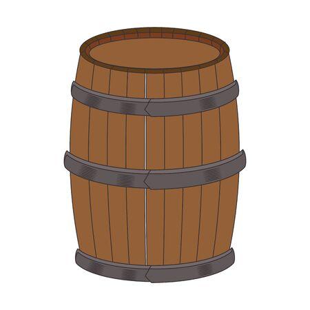 wooden barrel icon over white background, vector illustration Standard-Bild - 133318122