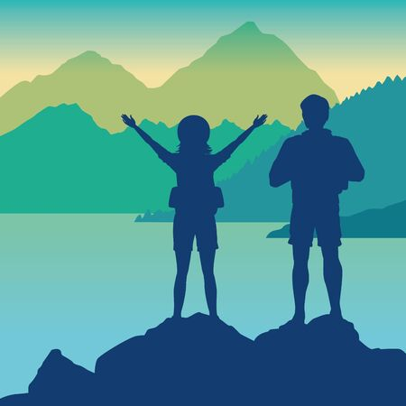 Backpack travelers couple landscape drawing scenery silhouette vector illustration graphic design.
