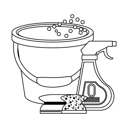 Cleaning equipment and products disinfectant with sponge and water bucket vector illustration graphic design. Ilustracja