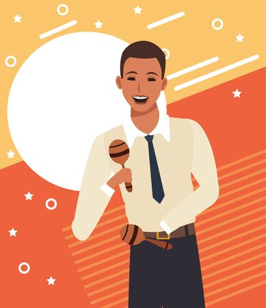 cartoon man musician with maracas over colorful background, vector illustration