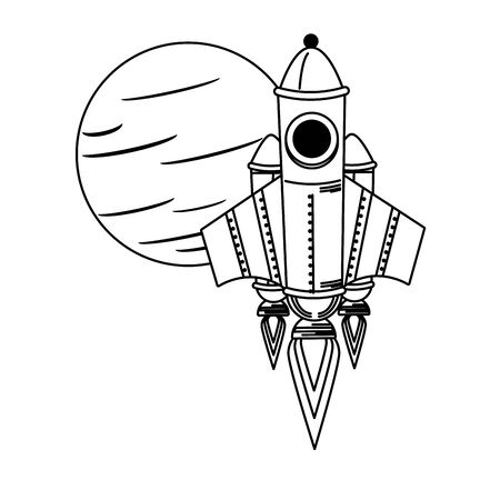 universe space galaxy astronomy science spaceship rocket taking off from planet cartoon vector illustration graphic design vector illustration graphic design