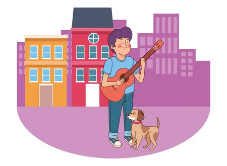 Teenager walking the dog and playing the guitar in the city, urban scenery background vector illustration graphic design. Illustration