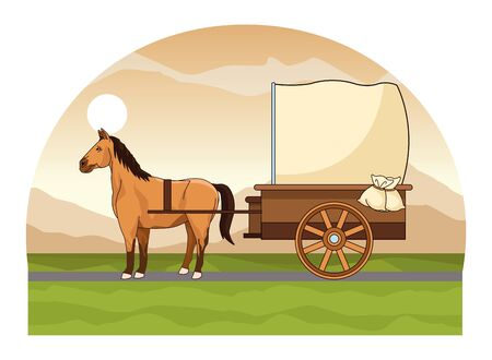 Antique horse carriage animal tractor riding on highway landscape background vector illustration graphic design.