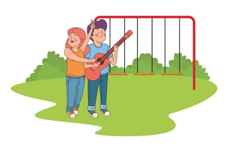 Teenagers friends playing guitar and singing cartoon in the park with playgrounds vector illustration graphic design.