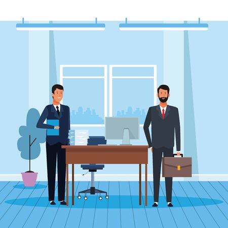 cartoon businessmen working in the office, colorful design. vector illustration