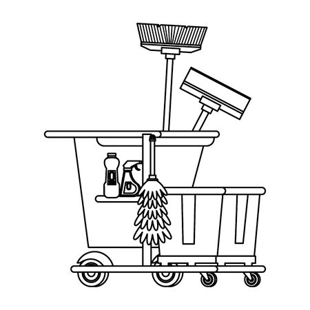 Cleaning equipment and products in cart with mop and broom vector illustration graphic design. Ilustracja