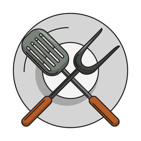 Kitchen barbecue utensils for grill turner fork on dish vector illustration graphic design