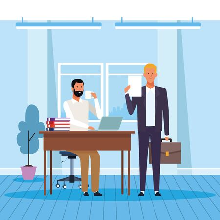 Two businessmen partners working and drinking coffee in the office, colorful design. vector illustration Stock Illustratie