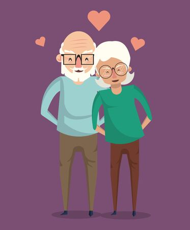 Beautiful grandparents elderly couple smiling in love cartoon ,vector illustration graphicdesign.