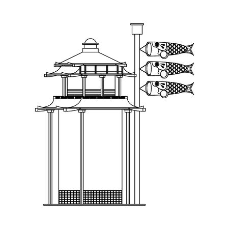 asian temple and Japanese koinobori flag sign over white background, vector illustration Illustration