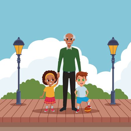 Family grandfather with grandson and granddaughter playing with ball in the park scenery wooden floor and streetlights ,vector illustration graphic design.