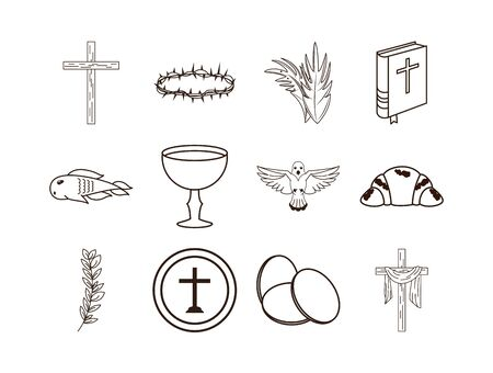 bundle of first communion set icons vector illustration design Stock Illustratie