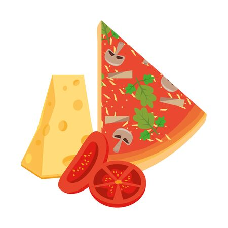 cheese and italian pizza slice icon over white background, vector illustration Zdjęcie Seryjne - 133343063