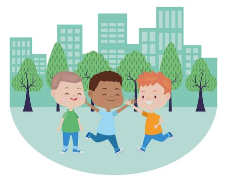 Happy kids smiling and playing with friends cartoon in park at city urban scenery ,vector illustration graphic design.