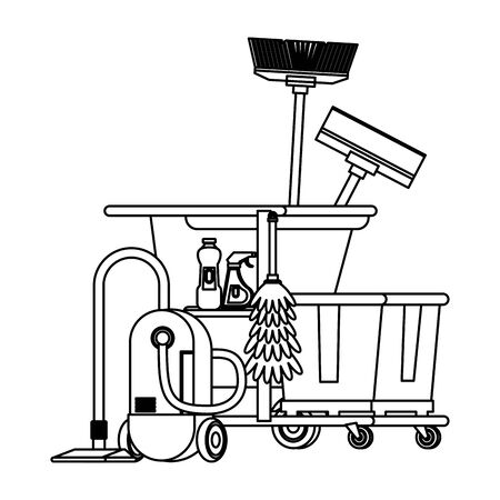 Cleaning equipment and products in cart with vacuum cleaner mop and broom vector illustration graphic design.