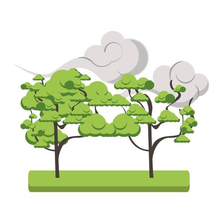 trees and asian clouds icon over white background, vector illustration