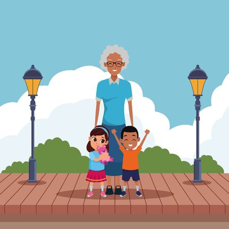 Family grandmother with grandson and granddaughter playing with teddy in the park scenery wooden floor and streetlights ,vector illustration graphic design.