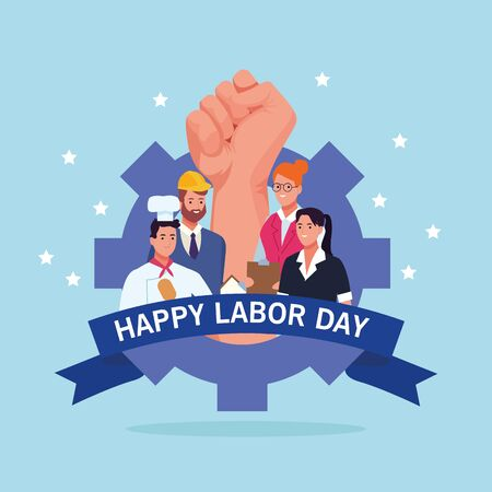 Happy labor day card with professional workers and united states flag, USA holiday celebration. vector illustration graphic design.