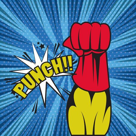 Comic book explosion with fist punch superhero cartoon ,vector illustration.