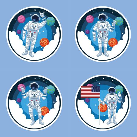 Astronaut flying in the galaxy with planets cartoons set of scenarios vector illustration graphic design