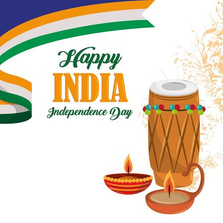 India independence day card with patriotic monuments and emblems, poster holiday vector illustration graphic Çizim