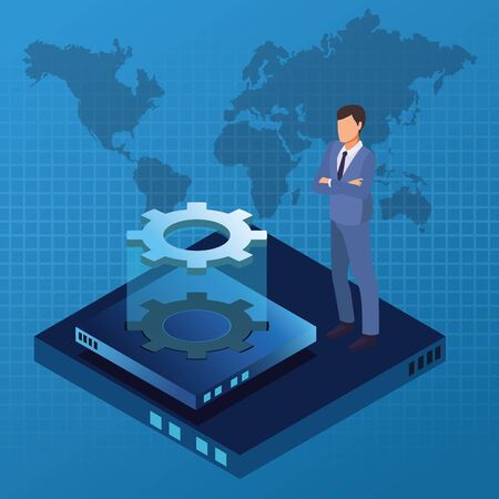 Isometric business with technology hologram over world map background vector illustration graphic design