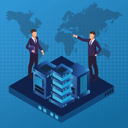 isometric businessmen working in the office with technology over digital world map background vector illustration graphic design