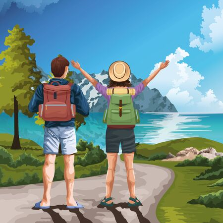 Backpack traveler couple with arms up in beautiful landscape with lake and mountains vector illustration graphic design.