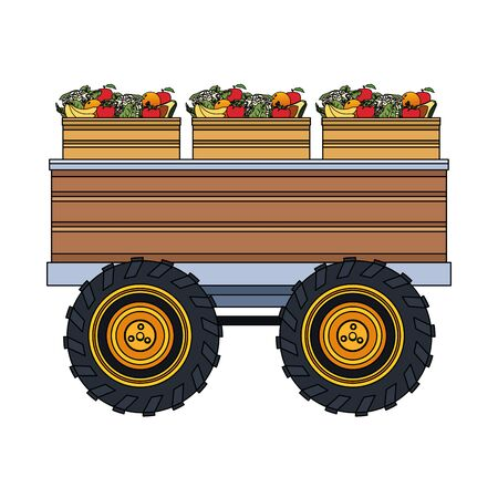 farm load of boxes with vegetables over white background, colorful design. vector illustration