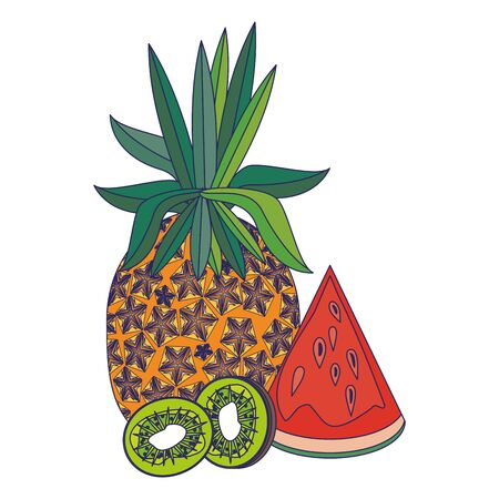 delicious tropical fruit with pineapple, watermelon and kiwi icon cartoon vector illustration graphic design Illusztráció