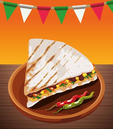 mexican food poster with fajitas vector illustration design Ilustracja