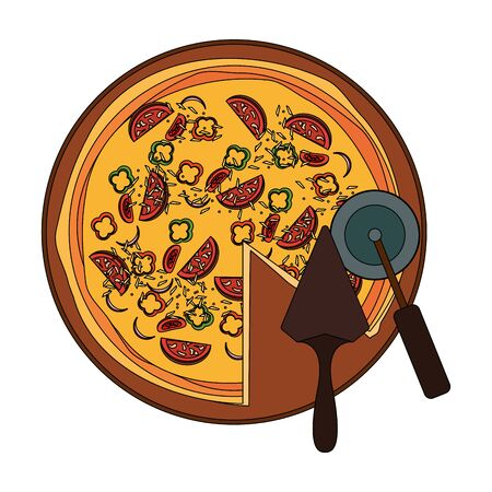 cutter and italian pizza over white background, vector illustration