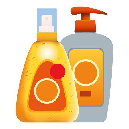 Sun bronze bottles cosmetic products ,vector illustration graphic design. Standard-Bild - 133970581