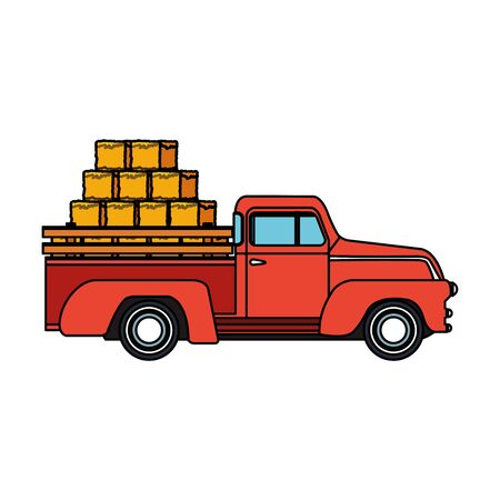 classic farm pickup with bales of hay over white background, vector illustration