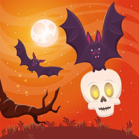 halloween dark scene with bat flying and skull vector illustration design