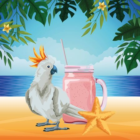 summer beach and vacation with starfish, cockatoo and smoothie drink icon cartoon over the beach with seascape vector illustration graphic design Ilustração Vetorial