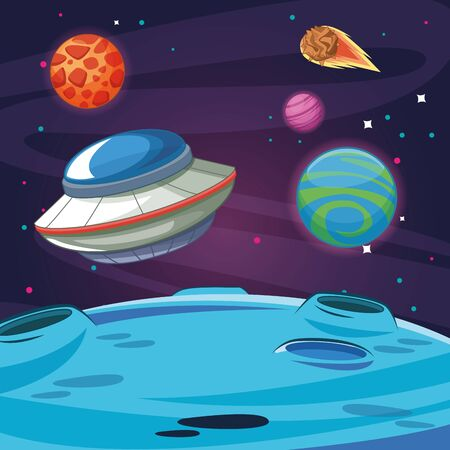 UFO flying in the milkyway space with planets and meteor vector illustration graphic design