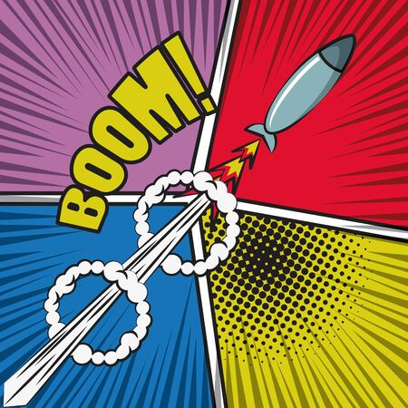 Comic BOOM explosion bubbles with rocket cartoon on colorful background ,vector illustration. 일러스트