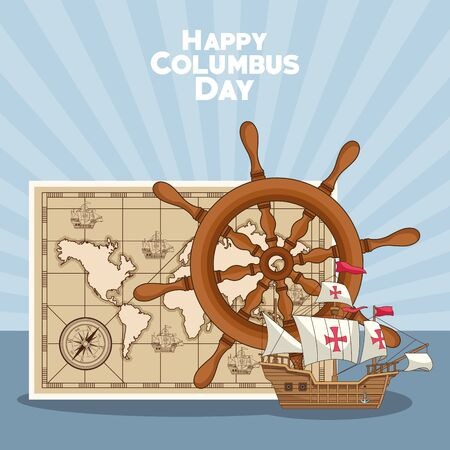 vintage world map with rudder and sailing ship over blue background. Happy Columbus day colorful design, vector illustration