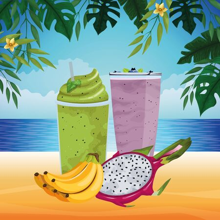 tropical fruit and smoothie drink with pitahaya and banana icon cartoon over the beach with seascape vector illustration graphic design Illusztráció
