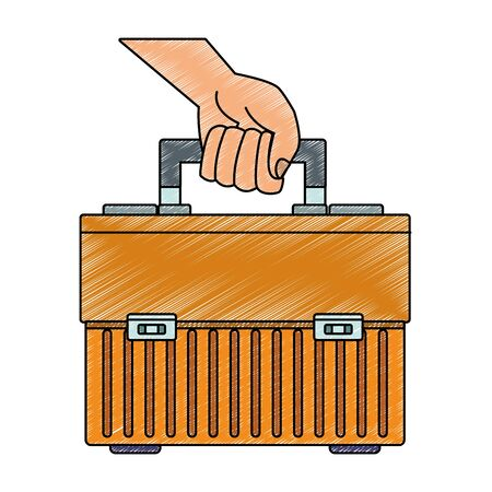 Hand holding toolbox vector illustration graphic design 向量圖像