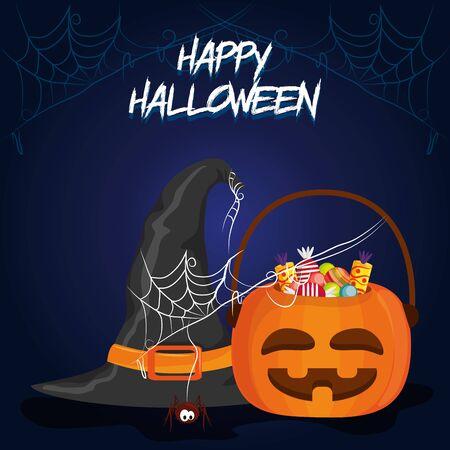 happy halloween scary night october dark celebration holiday card with pumpkin sweets bag cartoon vector illustration graphic design