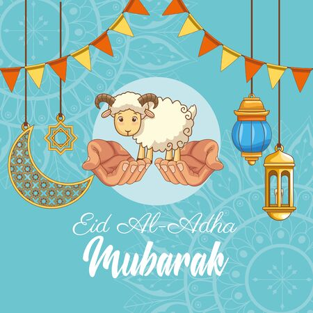 The Feast of Islamic Sacrifice and hand offering with islamics ornaments on blue background vector illustration graphic design Vecteurs