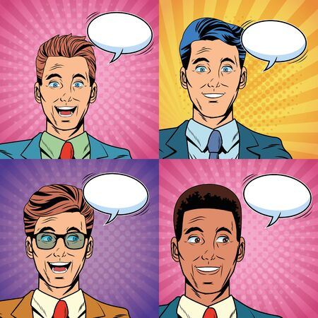 Pop art surprised businessmen faces cartoon over striped background square frames collection vector illustration graphic design