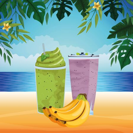 tropical fruit and smoothie drink with banana icon cartoon over the beach with seascape vector illustration graphic design Stock fotó - 133471469