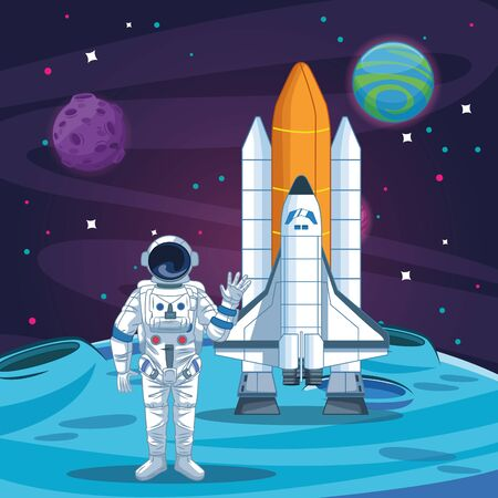 Astronaut and spaceship on the moon scenery vector illustration graphic design