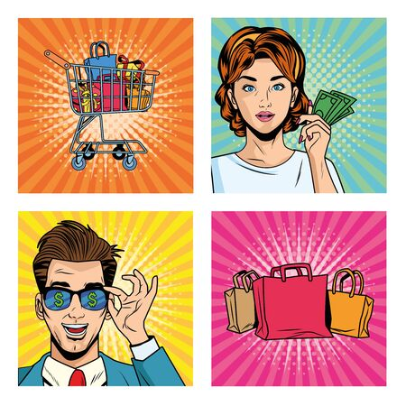business couple with shopping bags and icons pop art style vector illustration design