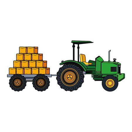 farm truck with hay bales load over white background, vector illustration Stock Vector - 133473171